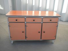 Beautiful Coral Pink Formica Cabinet...the Mid 1900s Just Call So Sweetly To Me