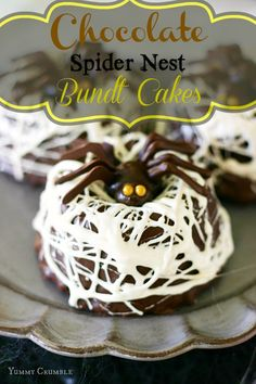 Miniature chocolate bundt cakes covered in a hard chocolate ganache shell, then smothered with melted marshmallow spider webs.  The perfect little home for a friendly little chocolate spider!  - www.yummycrumble.com