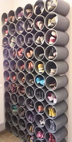 19 Fabulous DIY Ideas to Organize Shoes - Simple Life of a Lady : fun and creative shoes organization ideas! fun and creative shoes organization ideas! fun and creative shoes organization ideas! Diy Shoe Rack, Diy Shoe Organizer, Shoe Rack Hacks, Wall Shoe Rack, Shoe Storage On Wall, Shoe Shelves, Shoe Storage Ideas Bedroom, Hall Storage Ideas, Bedroom Shelves