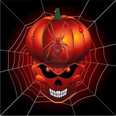 halloween scary pumpkin skull and spider web stock photo - Halloween Skulls Pictures