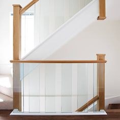 Oak Staircase with Beautiful Glass Spindles - Neville Johnson Timber Staircase, House Staircase, Staircase Railings, Staircase Design, Banisters, Spiral Staircase, Timber Handrail, Oak Cladding, Balustrade Design