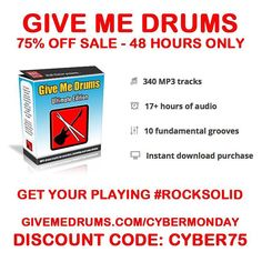 Get your playing rock solid without the boredom of the metronome. Give Me Drums 75% Off Cyber Monday SALE. 48 hours only! http://ift.tt/1OqjzvL
