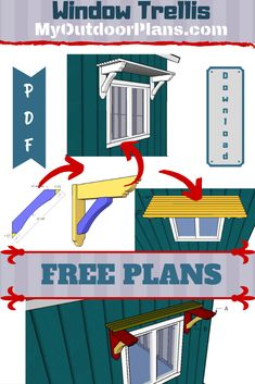 This step by step diy project is about window trellis plans. If you want to add unique appeal to your windows, you can build this super simple trellis. This is just one design, but you can make lots of adjustments to your project. Metal Pergola, Pergola With Roof, Diy Pergola, Pergola Kits, Pergola Ideas, Shed Plans 8x10, Free Shed Plans, Free Pergola Plans, Building A Pergola