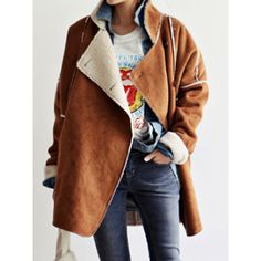 Khaki Suedette Lapel Shearling Detail Coat (€41) ❤ liked on Polyvore featuring outerwear, coats, brown coat, lapel coat, khaki coat, sheep fur coat and brown shearling coat