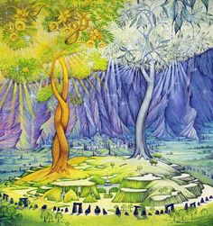Telperion and Laurelin..  In J. R. R. Tolkien's legendarium, the Two Trees of Valinor are Telperion and Laurelin, the Silver Tree and the Gold that brought light to the Land of the Valar in ancient times. They were destroyed by Ungoliant at Melkor's behest, but their last flower and fruit were made by the Valar into the Moon and the Sun.