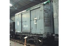 """LNER Covered Van No. 167459 -   The LNER was the last of the """"Big Four"""" railway companies to adopt the steel underframe for ordinary freight vehicles, being particularly hard-hit by the industrial recession. This wagon still has a wooden underframe.  167459 is in fundamentally sound condition, but needs a new roof covering and replanking to restore its appearance."""