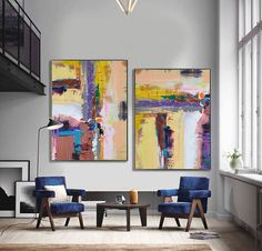 Set Of 2 Large Contemporary Painting, Abstract Canvas Art, Original Artwork by Leo, Brown, purple, yellow, blue, pink, etc. Celine Ziang Art