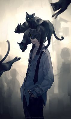 Modern day reinterpretation of Edgar Allan Poe's The Black Cat by Yuumei