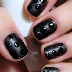 black polka dot nails