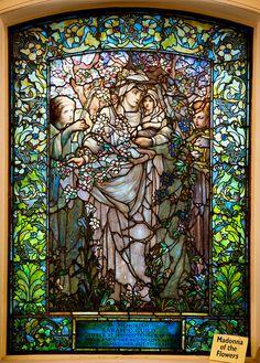 Madonna of the Flowers, Tiffany Glass Window, Lower level, Arlington Street Church, Boston - Mo Tabesh