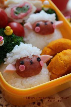 日本人のごはん/お弁当 Japanese meals/Bento. 羊さん弁当 Sheep Wiener Rice Ball, Kyaraben Bento Lunch