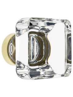 Medium Square Crystal Cabinet Knob With Solid Brass Base | House of Antique Hardware
