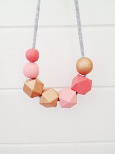 handpainted wooden bead necklace on recycled by coralandcloud