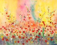 spring flowers print, $22 from alicias magic land on etsy - love the gentle warmth of this picture  - lots of other whimsical wonders available from this artist!