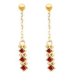 Women's Earrings by GFG Jewellery by Nilufer Lara Earrings Garnet (£130) ❤ liked on Polyvore featuring jewelry, earrings, yellow, 18k earrings, garnet jewellery, earring jewelry, yellow earrings and 18k jewelry