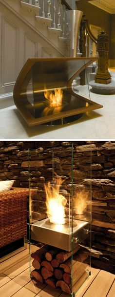 Modern Fireplace // Uses Environmentally Friendly Bio-Ethanol Fuel love the bottom one Home Fireplace, Interior Decorating, Interior Design, Interior Exterior, Ethanol Fuel, Decoration, My Dream Home, Future House, Beautiful Homes