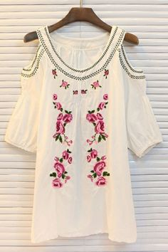 White Floral Embroidered Shirt  by Oasap.com