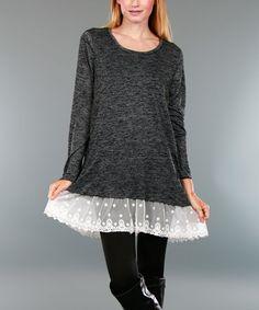 Deep Gray Lace-Trim Scoop Neck Tunic - Plus #zulily #zulilyfinds