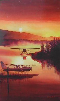 """Sky Harbor"" (Homer, Alaska) watercolor 36x22, Paul Jackson"