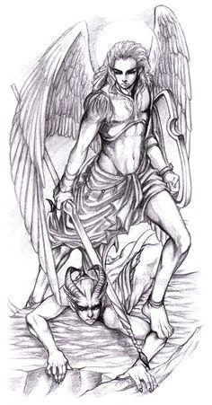 Michael and Lucifer by GarnetQuyenDinh on DeviantArt Devil Tattoo, Dark Tattoo, Wolf Tattoo Sleeve, Sleeve Tattoos, Michael Vs Lucifer, Pistola Tattoo, St Micheal, Saint Michael, Archangel Michael Tattoo