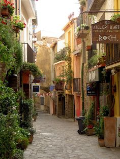 Street scene in Collioure, a commune in the Pyrénées-Orientales department in southern France (by julieqiu).