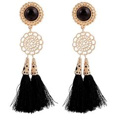 Maykool Black Fringe Faux Gemstone Studded Vintage Earrings ($8.99) ❤ liked on Polyvore featuring jewelry, earrings, accessories, black, vintage stud earrings, fake stud earrings, vintage jewelry, gem jewelry and gemstone jewelry