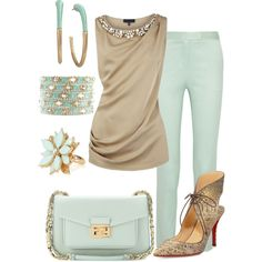 """""""Mint & Taupe"""" by marisol-menahem on Polyvore"""