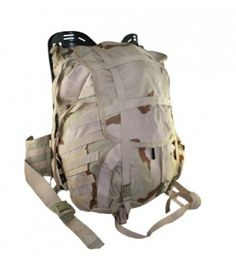 Brand new U.S. issue Molle II backpack. 3 color Desert camo. Has an external frame, padded kidney belt, padded backpack straps, drawstring closure on the top.