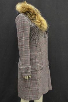 NWT MAX&CO DESTINO Sz 8 Blk/Red Glen Plaid Coat Detachable Fur Collar 120564MM