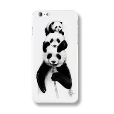 Transparent Edge Fashion Beautiful Panda Art Painting Black & White Hard PC Mobile Phone Cover Case Shell For Apple from JAKKOUTTHEBXX. Saved to Phone.