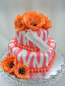 pink zebra with orange flowers