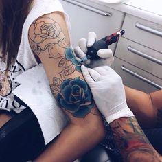 Blue rose half sleeve tattoo