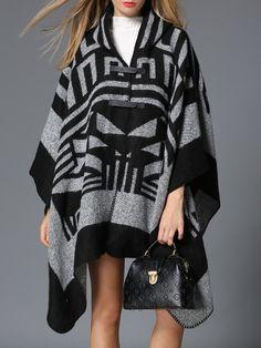 #AdoreWe #StyleWe MESAPPAS Gray Casual V Neck Printed Asymmetric Poncho  - AdoreWe.com
