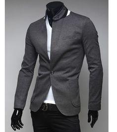 Men's Single Button Stand Collar Blazer