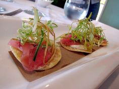 Tostados topped with raw bluefin tuna and a spicy mayonnaise-style dressing by La Fisheria.  They'll be sampling food at the Houston Press Menu of Menus. The event will be held on April 17th at Silver Street Station. Purchase tickets to the event at www.menuofmenus.com.  Use promocode: FOODIE for discounted tickets.