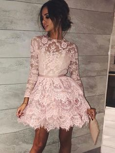 db384533949fc6 A-line Scoop Long Sleeve Short Prom Dress With Lace Pink Homecoming Dress  AMY1048