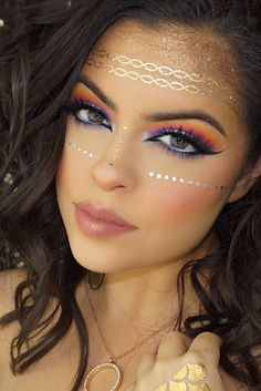 prinzessin make up schminken fasching karneval ideen princess make up make-up carnival carnival ideas Glam Makeup, Rave Makeup, Makeup Geek, Makeup Tips, Beauty Makeup, Makeup Ideas, Gypsy Makeup, Bohemian Makeup, Makeup Style