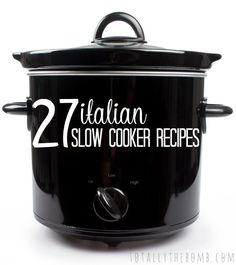 27 Italian Slow Cooker Recipes I love Italian food and I love my crock pot. So, I married them in this 27 Italian Slow Cooker Recipes for those of you, like me, that enjoy variety. Crock Pot Food, Crock Pot Freezer, Crockpot Dishes, Crock Pot Slow Cooker, Slow Cooker Recipes, Cooking Recipes, Crock Pots, Crockpot Meals, Freezer Meals