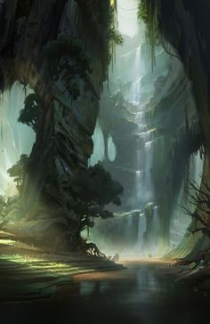 fantasy-art-engine:  Waterfalls by Justin Oaksford