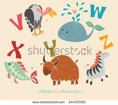 Alphabet & Animals, part 5. Set of letters from V to Z. The English alphabet and animals. Education for children