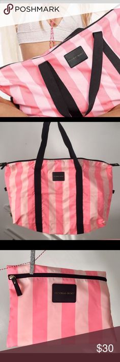Victoria Secret Weekender tote and case NWOT VS tote with small carrier case to store it in. Adorable pink stripes. Folds down for easy storage or travel. Victoria's Secret Bags Totes