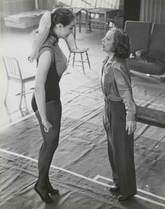Julie Newmar rehearses with Tallulah Bankhead for Ziegfeld Follies, 1956.