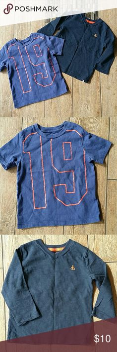 "💥BUNDLE💥 BABYGAP TODDLER TEES 2 different shades, but both navy shirts Short sleeve with ""19"" in red on it Long sleeve vneck, teddy bear on chest No rips, stains, pilling or fading Smoke free home GAP Shirts & Tops"