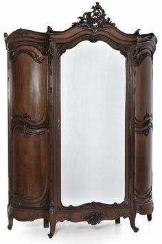 Grand Regence Walnut Triple Armoire #furniture #antiques #armoire