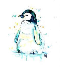 Penguin watercolour penguin by LisaWhitehouseArt Penguin Art, Penguin Love, Cute Penguins, Pinguin Drawing, Pinguin Tattoo, Penguin Watercolor, Watercolor Art, Penguin Pictures, Animal Art Prints