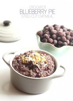Crockpot Blueberry Pie Steel-Cut Oatmeal is an easy, healthy, gluten-free breakfast the whole family will love!
