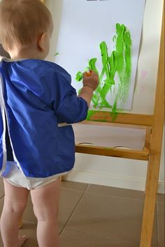 A shortened easel and other painting activities