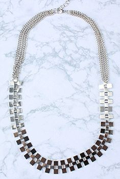 Edged Metal Chain Necklace
