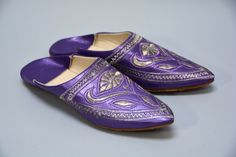NOS Purple Babouches - Deadstock Vintage Purple and Silver Embroidered Vegan Moroccan Slippers Ladies Size 7.5 8 Pointy Ethnic Flats by Day17Vintage on Etsy https://www.etsy.com/listing/221809949/nos-purple-babouches-deadstock-vintage
