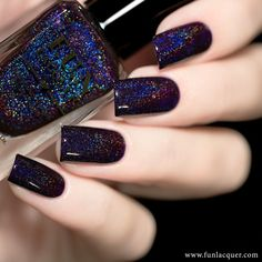 Paint your next manicure with this deep purple holographic nail polish with just the right amount of holo glitter to set off your New Years right. Perfect for New Years! This polish can be worn alone in coats. Collection: New Year 2017 Hot Pink Nails, Purple Nails, Gorgeous Nails, Pretty Nails, Hair And Nails, My Nails, Fun Lacquer, Christmas Manicure, Holographic Nail Polish